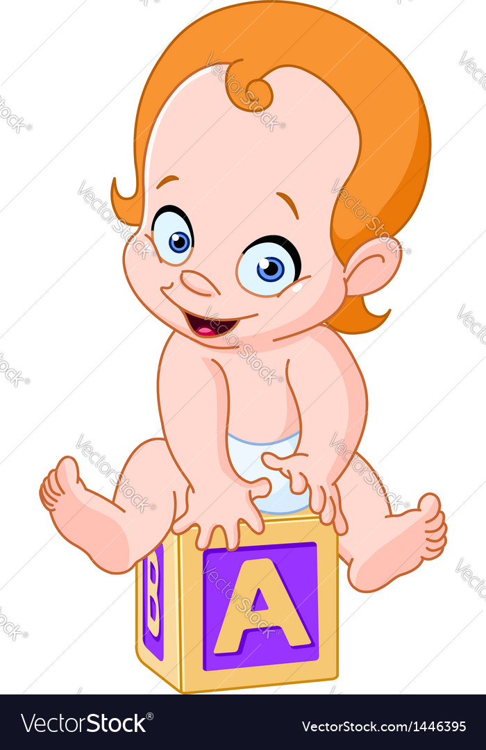 Baby on alphabet cube vector | Price: 3 Credit (USD $3)