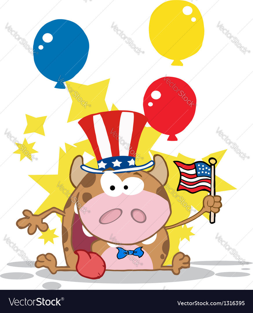 Calf cartoon character waving an american flag vector | Price: 1 Credit (USD $1)