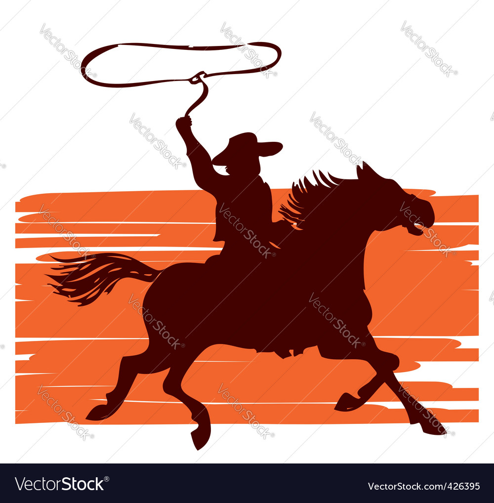 Cowboy on horseback vector
