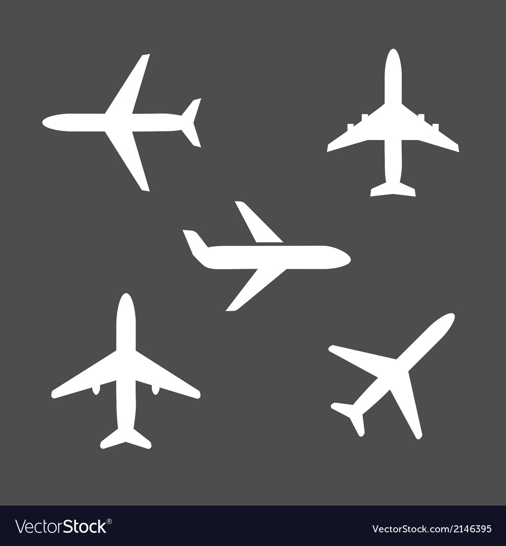 Five different airplane silhouette icons vector