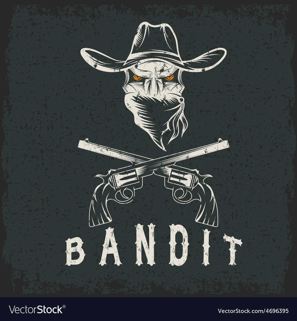 Grunge bandit skull with revolvers vector | Price: 1 Credit (USD $1)