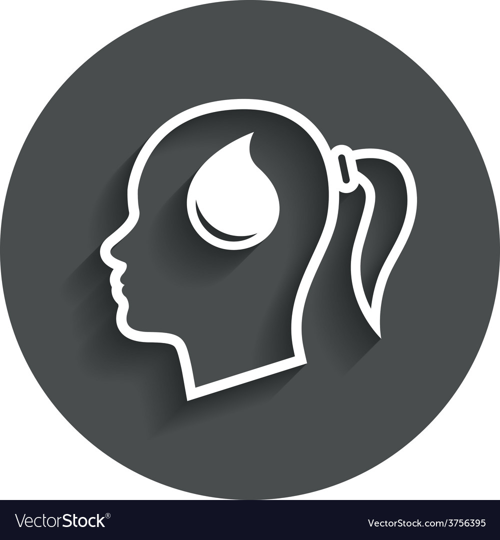 Head with drop sign icon female woman head vector | Price: 1 Credit (USD $1)