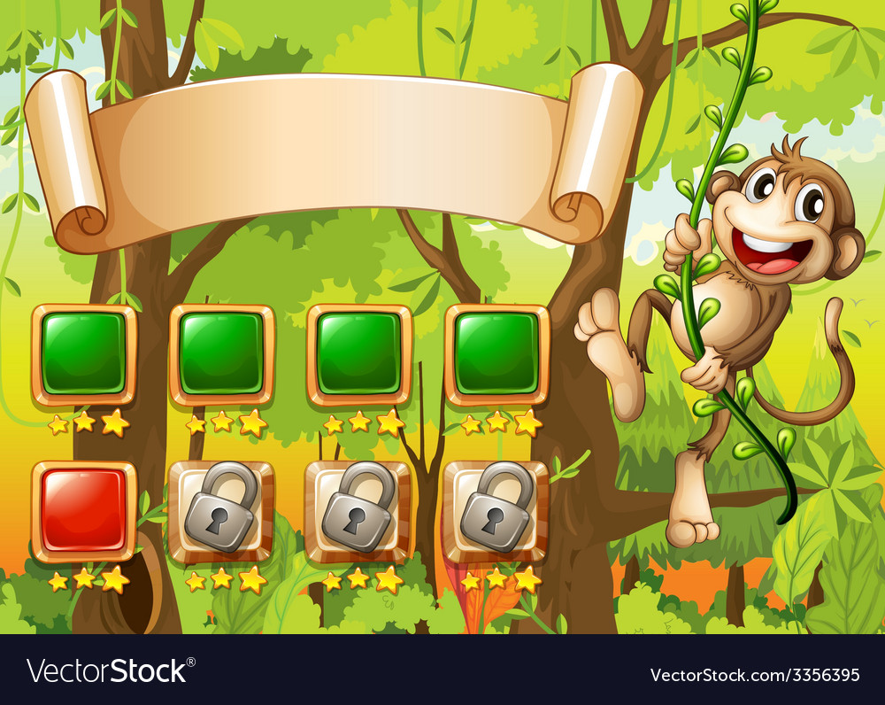 Monkey game design vector | Price: 3 Credit (USD $3)
