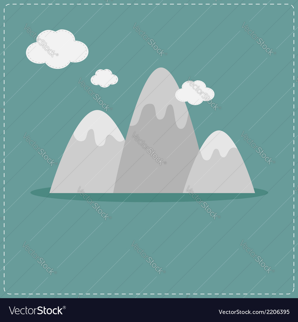 Mountain and clouds template flat design style vector | Price: 1 Credit (USD $1)