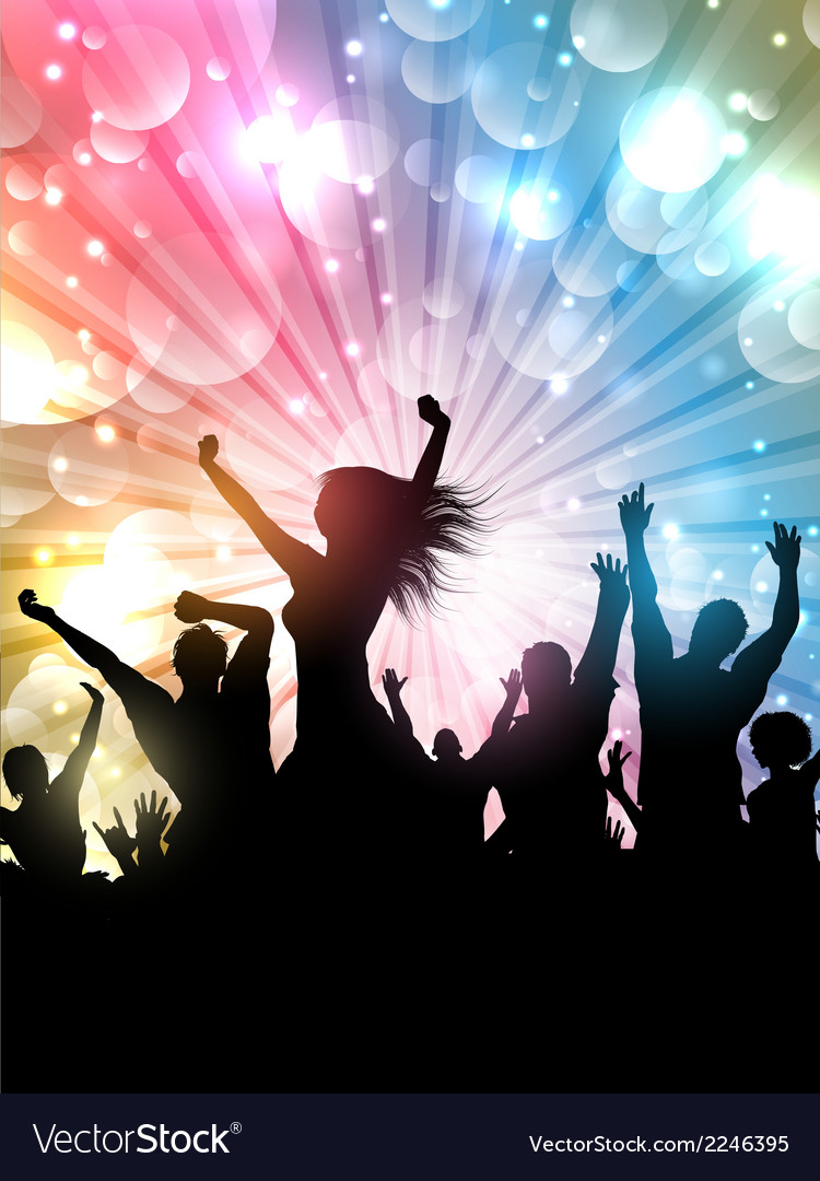 Silhouette of a party crowd on a starburst vector | Price: 1 Credit (USD $1)