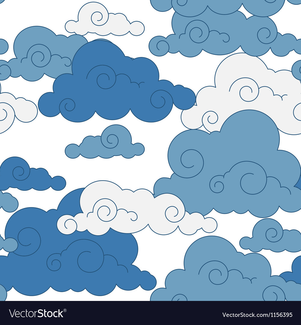 Vintage cloud chinese seamless pattern vector | Price: 1 Credit (USD $1)