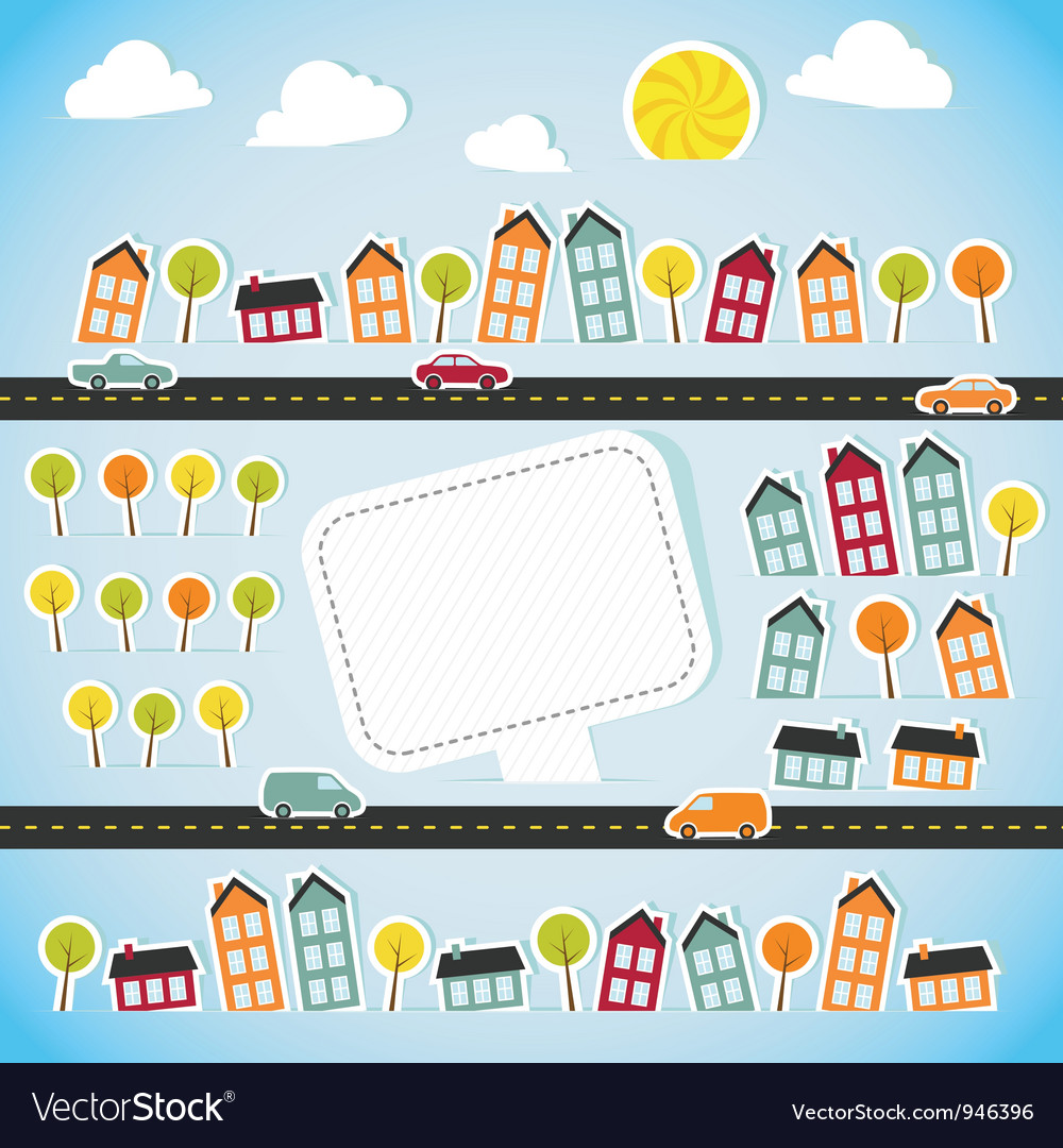 Abstract paper town with banner vector | Price: 1 Credit (USD $1)