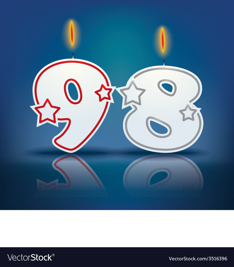 Birthday candle number 98 vector | Price: 1 Credit (USD $1)
