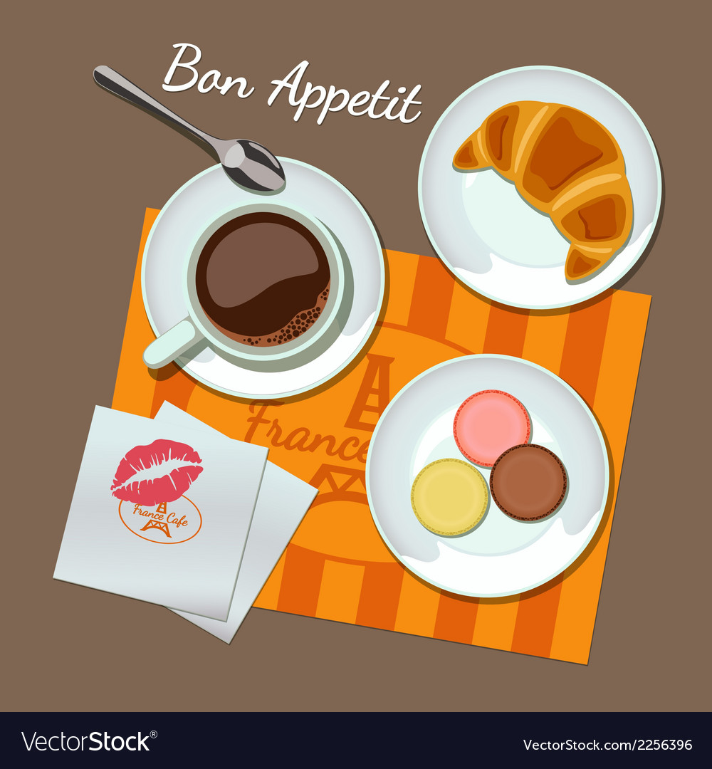 Coffee and snacks set top view vector | Price: 1 Credit (USD $1)