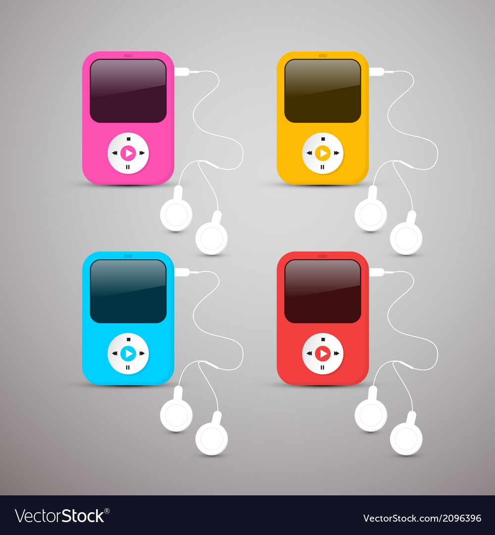 Colorful mp3 players set with white headphon vector | Price: 1 Credit (USD $1)