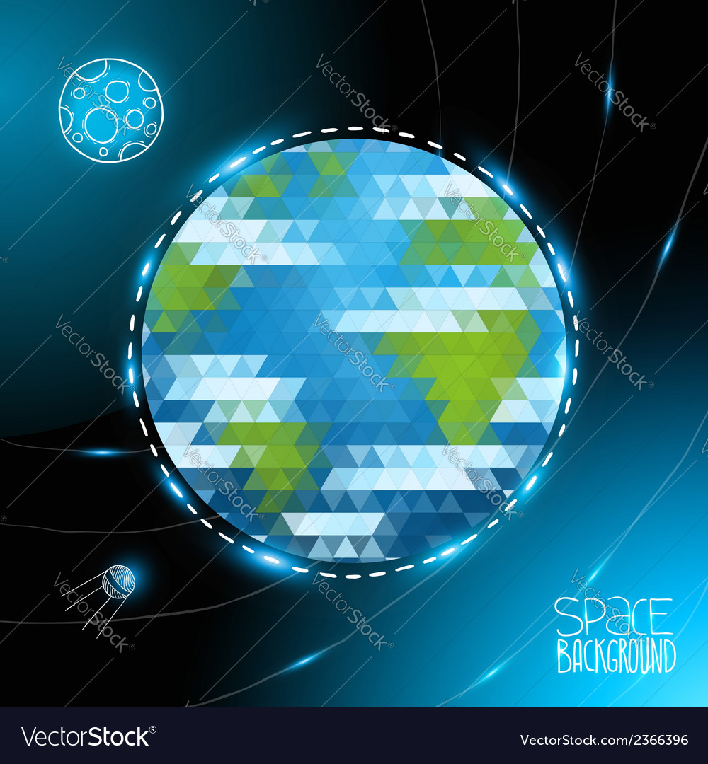Geometric triangle earth globe and doodle moon vector | Price: 1 Credit (USD $1)