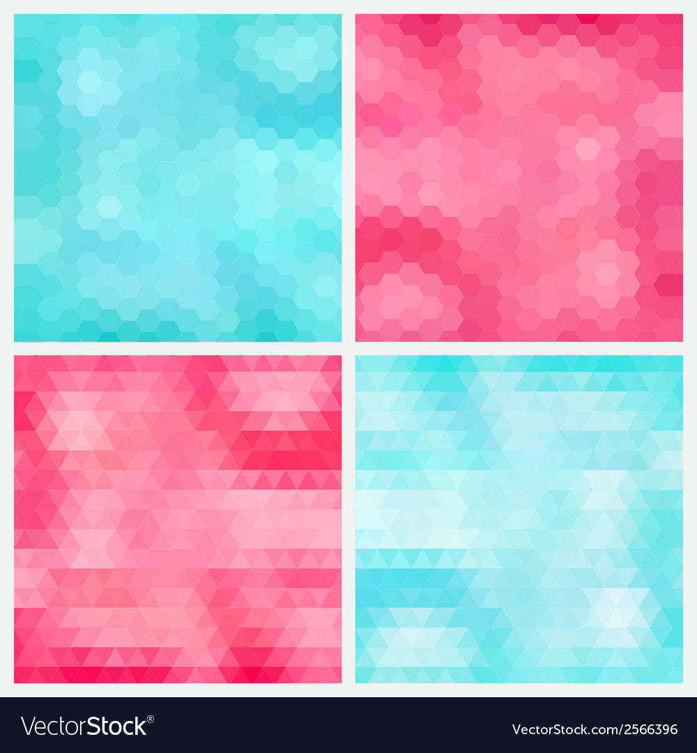 Happy abstract aquamarine and pink geometric vector | Price: 1 Credit (USD $1)