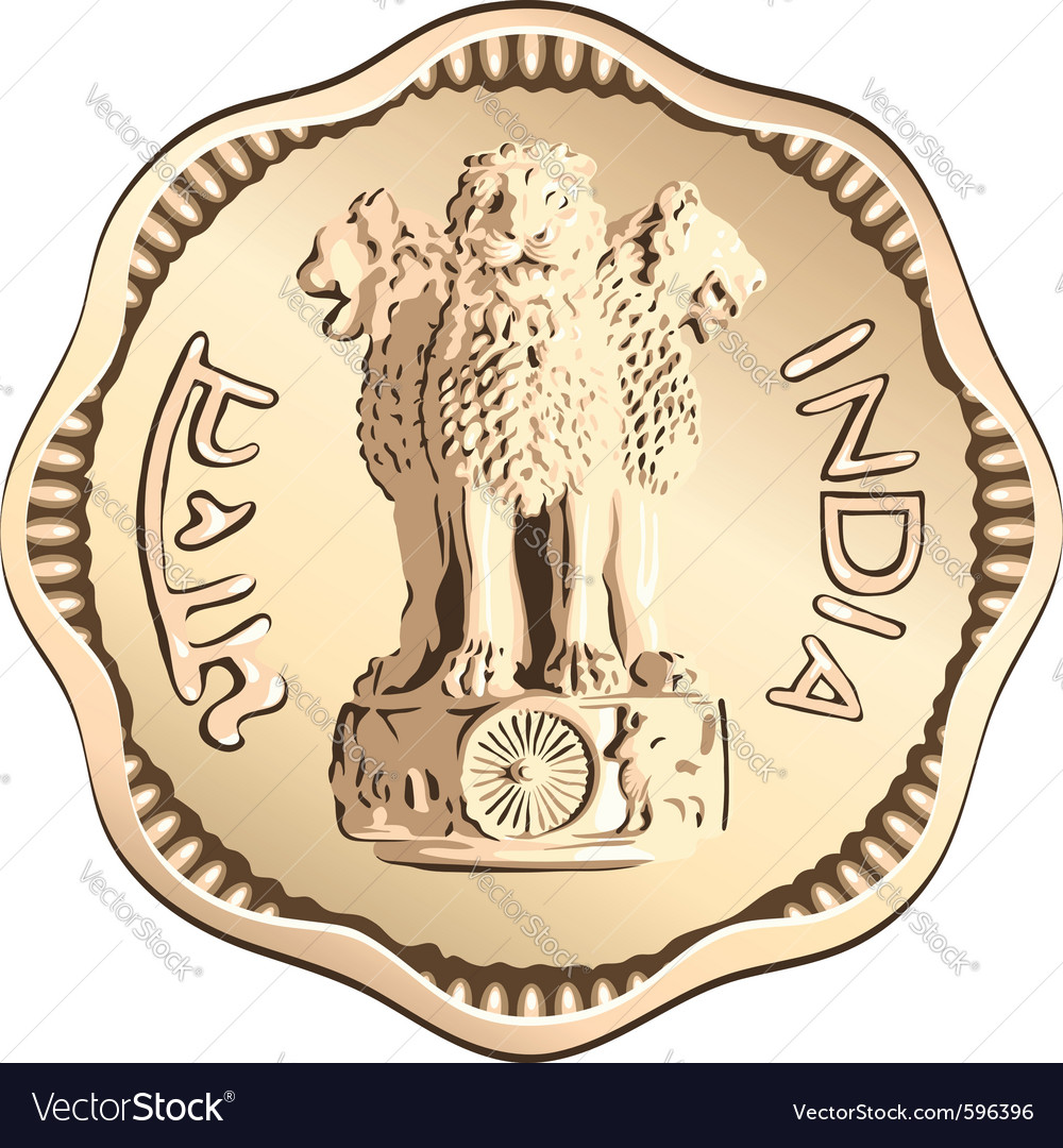 Indian rupee gold coin vector | Price: 1 Credit (USD $1)