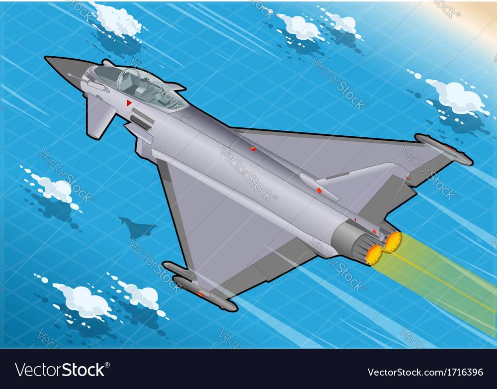 Isometric eurofighter in flight vector | Price: 1 Credit (USD $1)