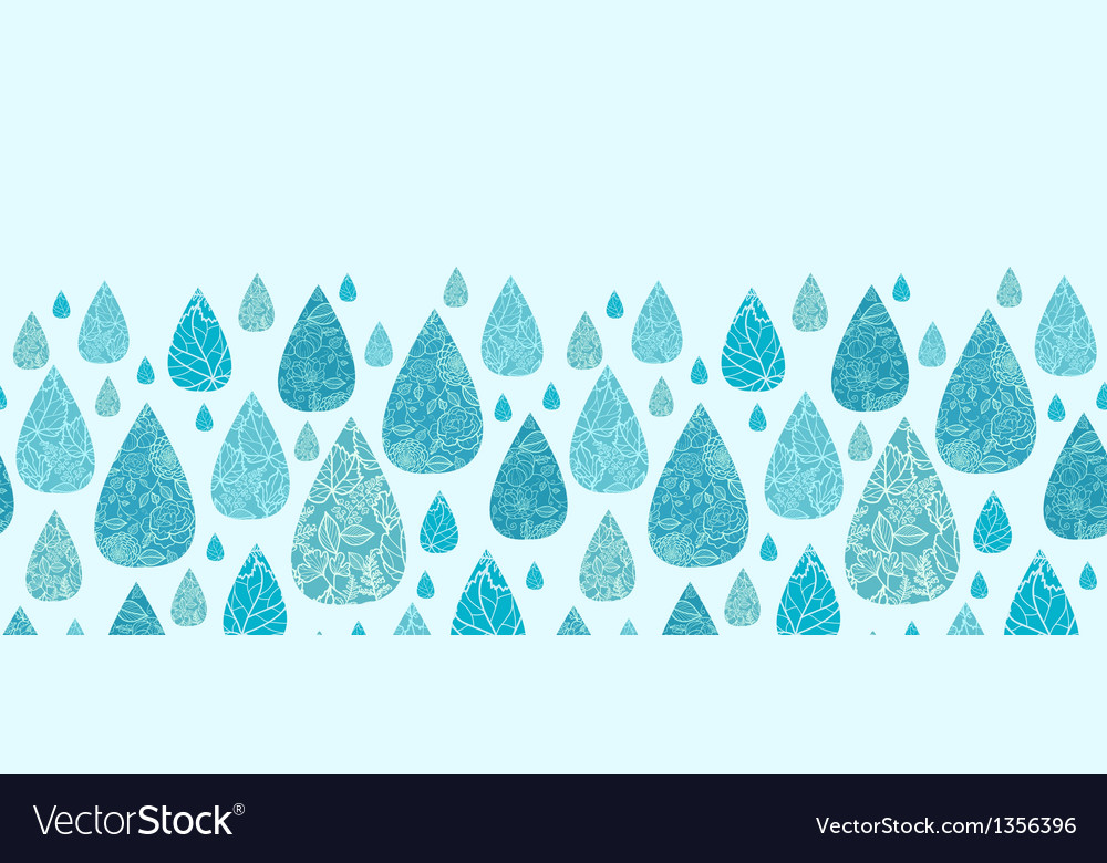 Rain drops textured horizontal seamless pattern vector | Price: 1 Credit (USD $1)