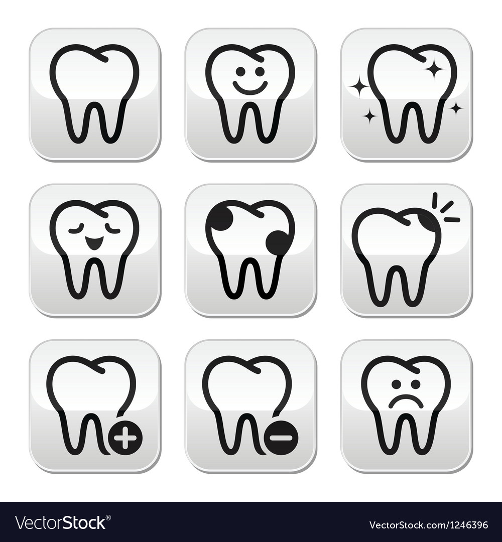 Tooth  teeth buttons set vector | Price: 1 Credit (USD $1)