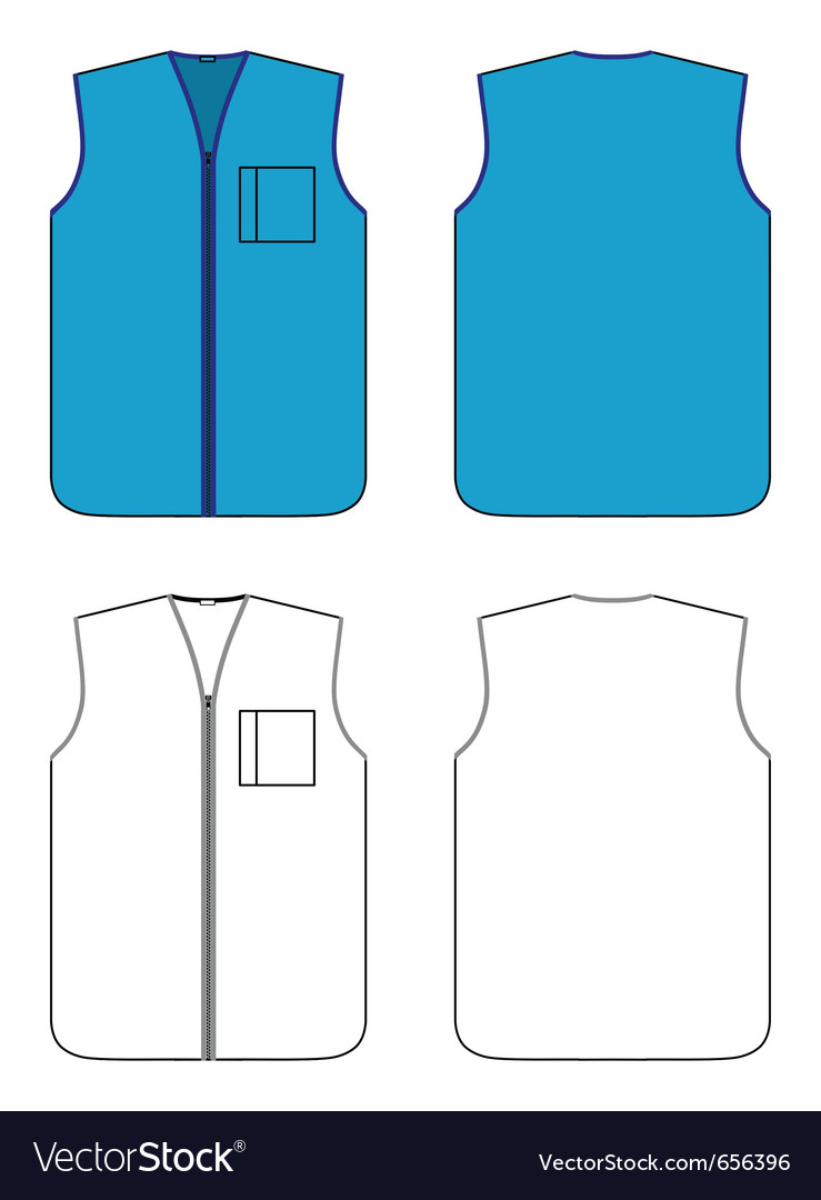 Worker waistcoat with zipper and pocket vector | Price: 1 Credit (USD $1)