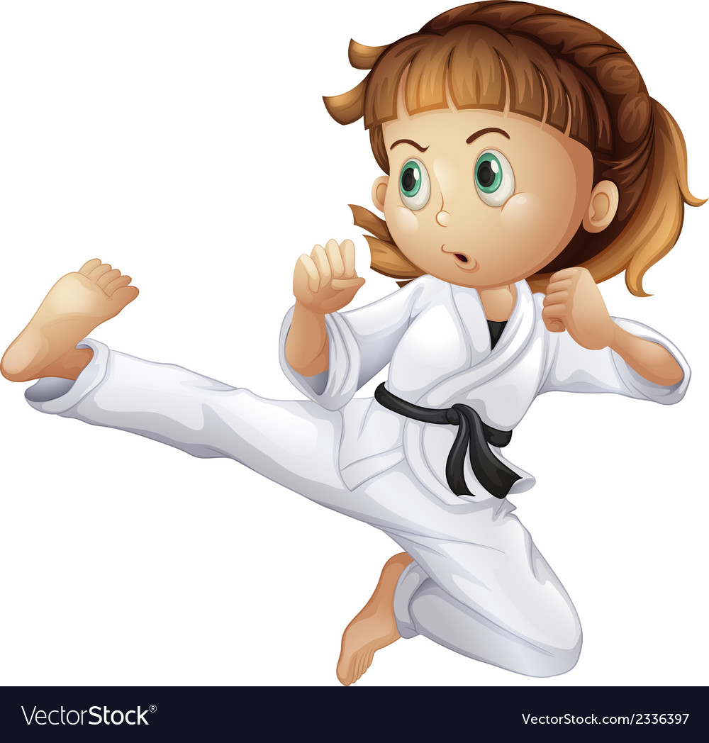 A brave young girl doing karate vector | Price: 1 Credit (USD $1)