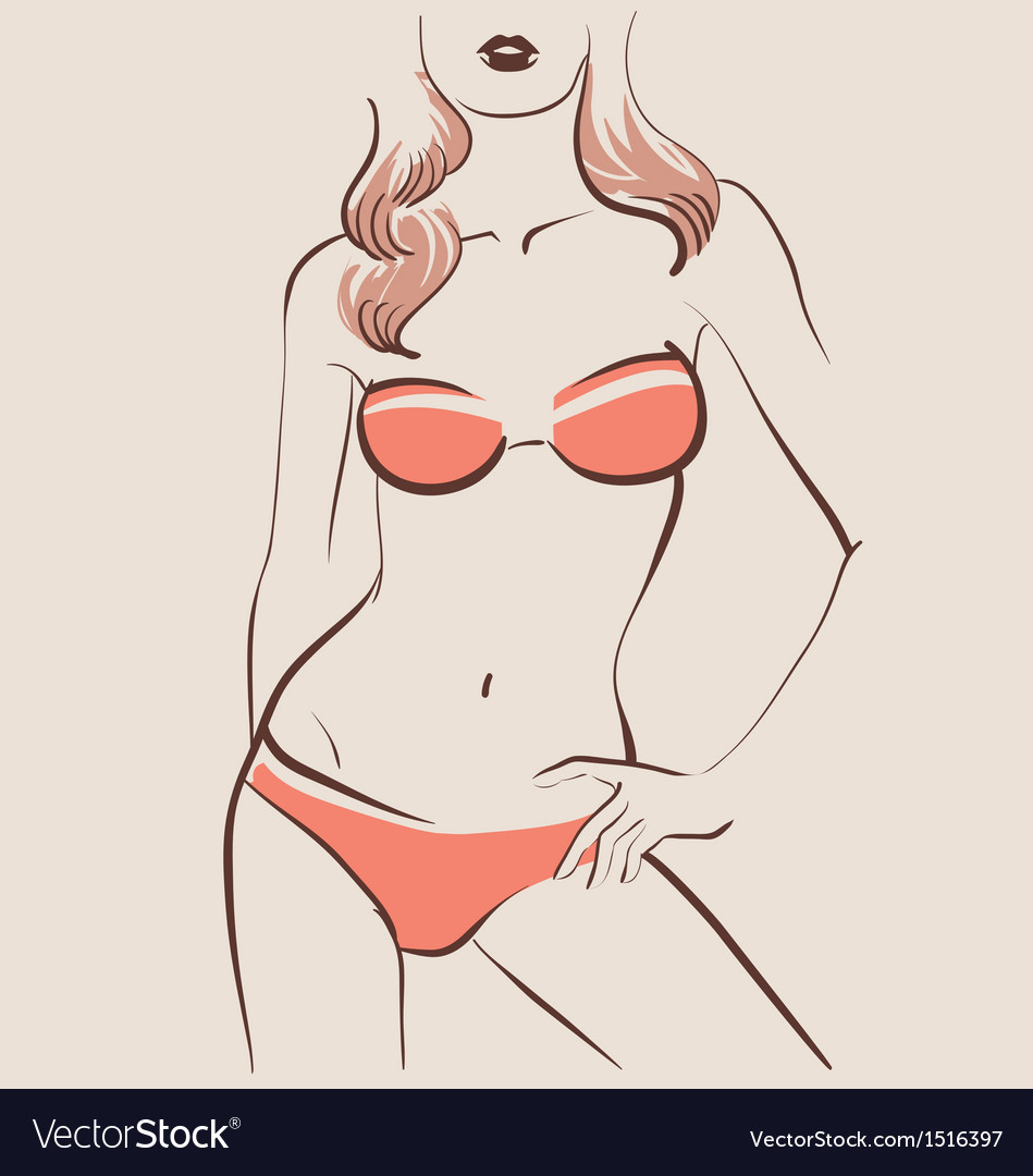 Beautiful woman body in bikini vector | Price: 3 Credit (USD $3)
