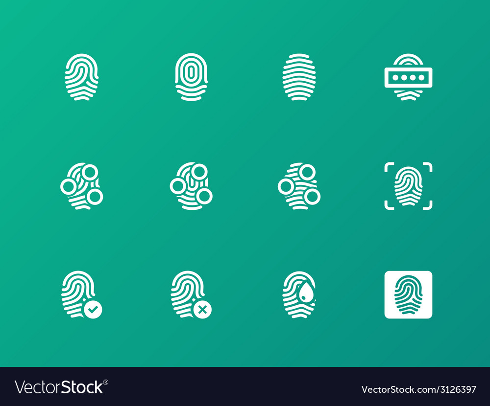 Finger authorization icons on green background vector | Price: 1 Credit (USD $1)