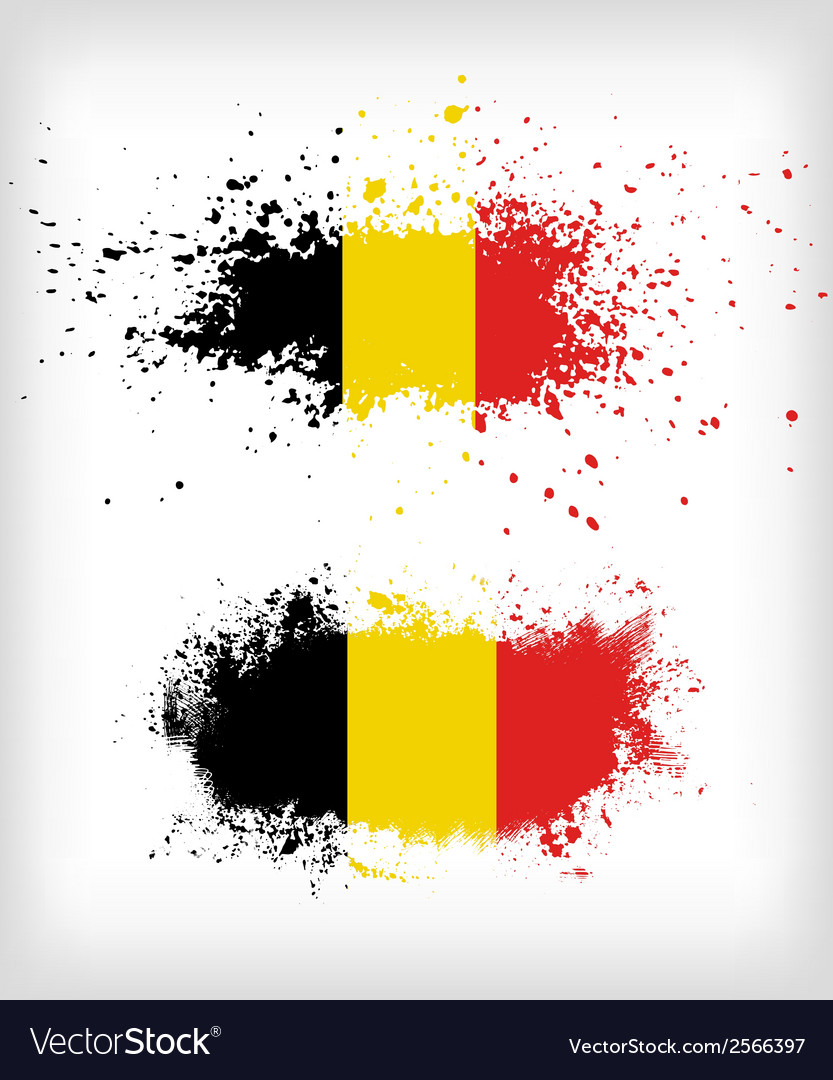 Grunge belgian ink splattered flag vector | Price: 1 Credit (USD $1)