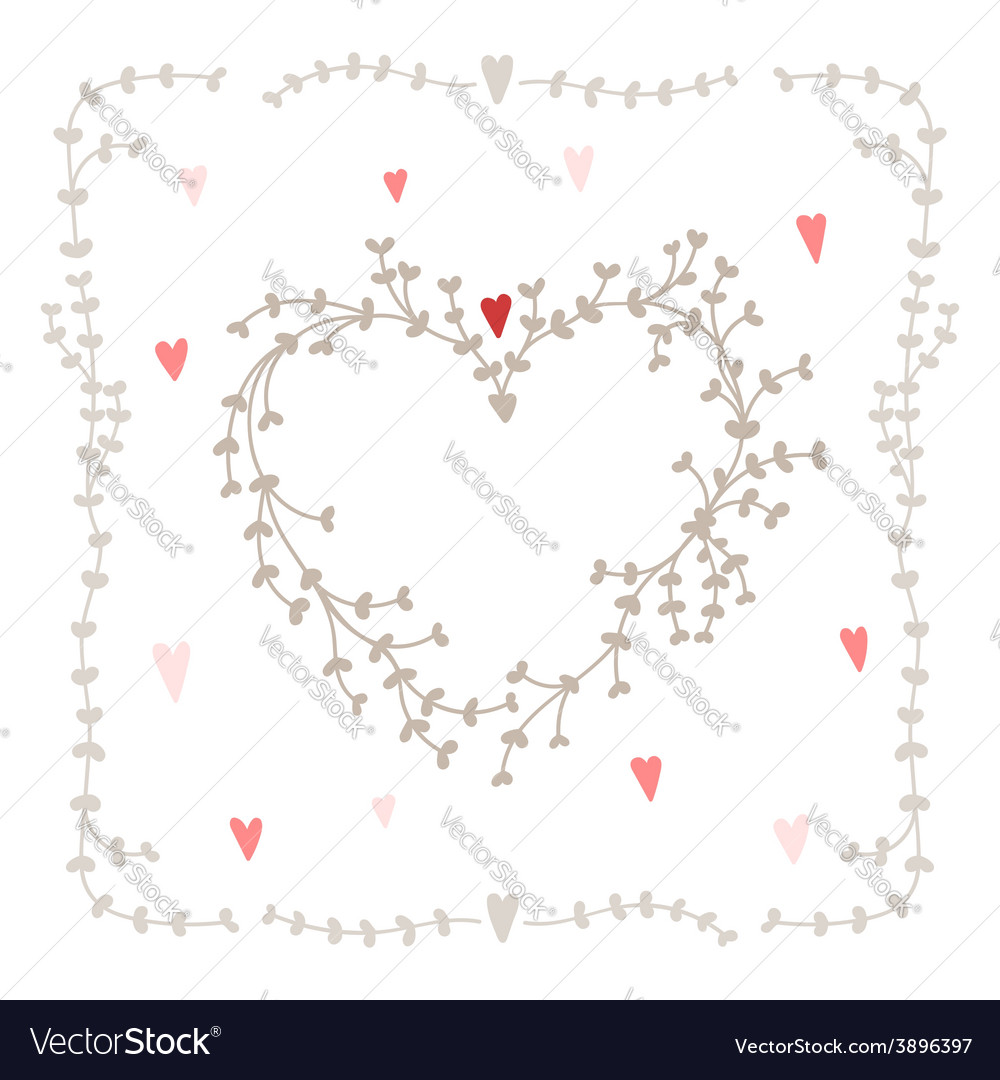 Hand drawn set heart shaped wreath heart vector | Price: 1 Credit (USD $1)