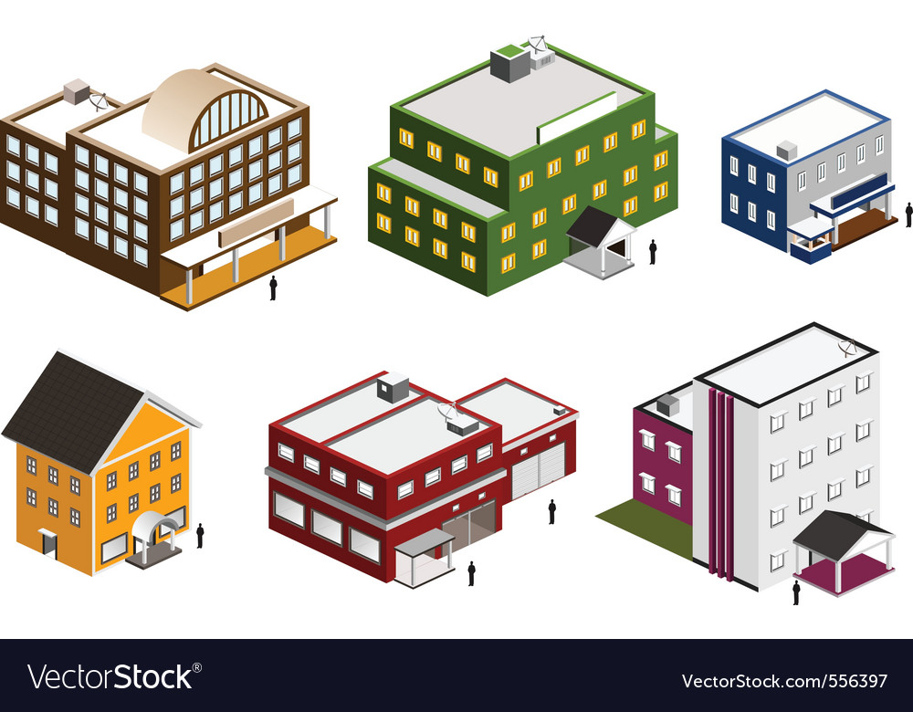 Isometric building collection vector | Price: 5 Credit (USD $5)
