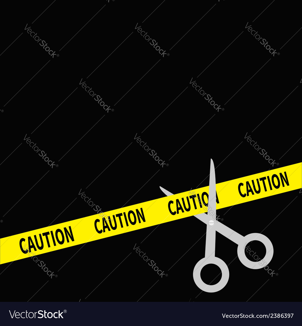 Scissors cut caution ribbon on the right flat desi vector | Price: 1 Credit (USD $1)