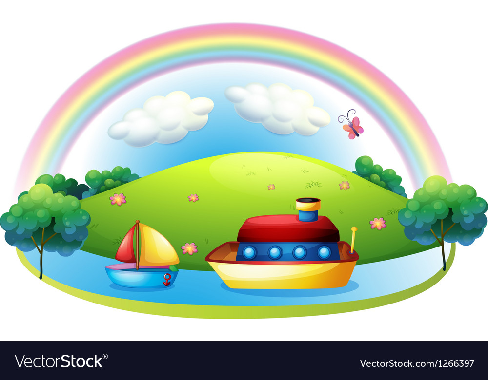 Ships near an island with a rainbow vector | Price: 1 Credit (USD $1)