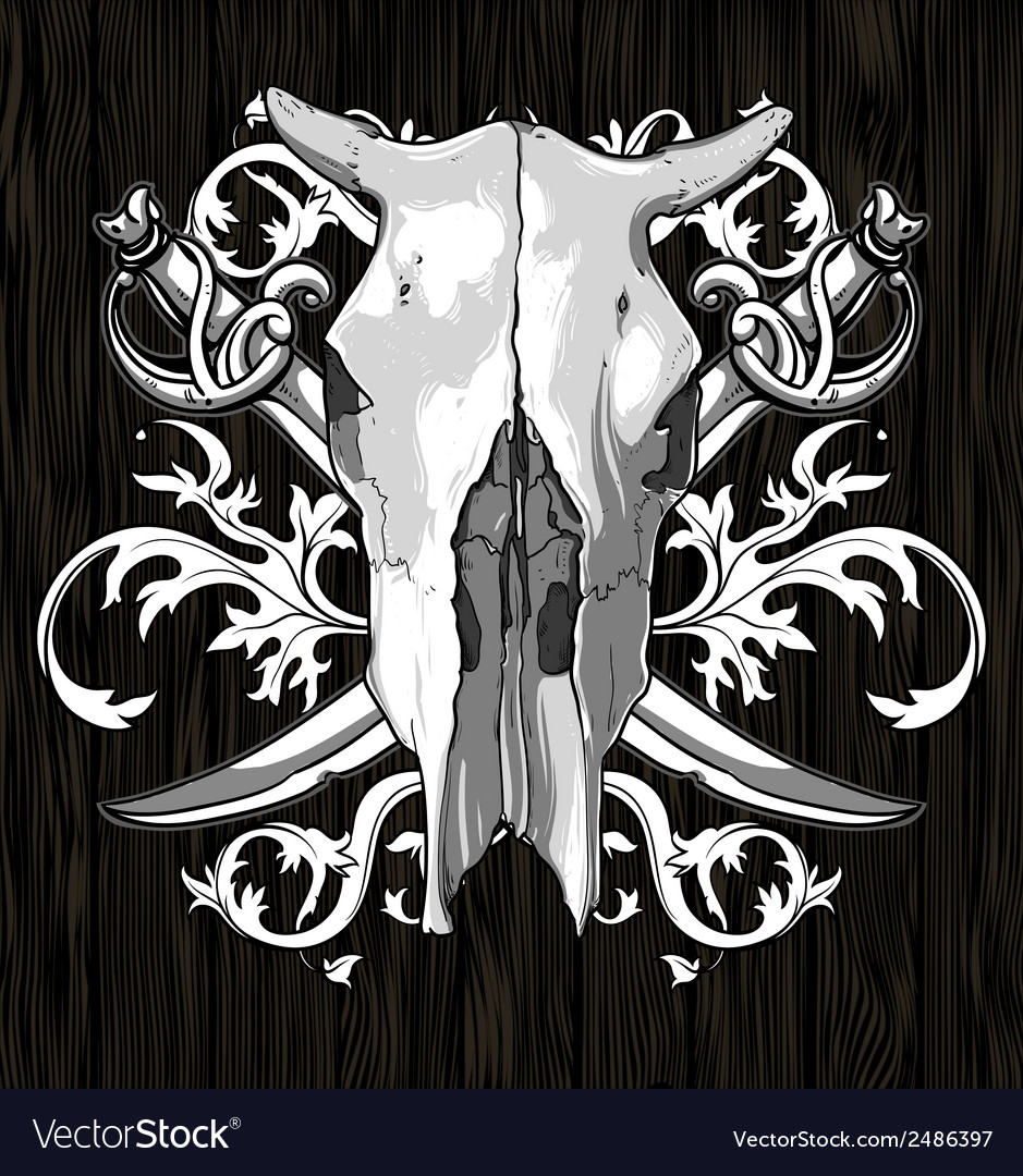 Skull cow with sabers vector   Price: 1 Credit (USD $1)