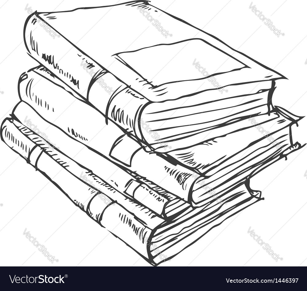 Stack of books doodle vector | Price: 1 Credit (USD $1)