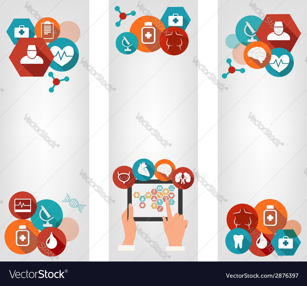 Three medical banners with colorful icons vector | Price: 1 Credit (USD $1)
