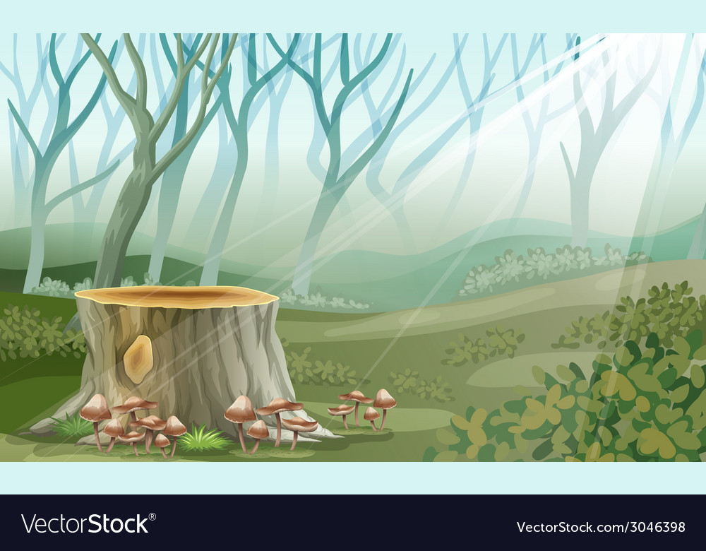 A trunk at the forest vector | Price: 3 Credit (USD $3)