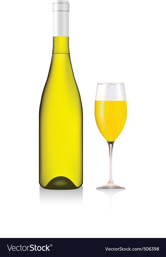 Bottle and glass with white wine vector | Price: 1 Credit (USD $1)