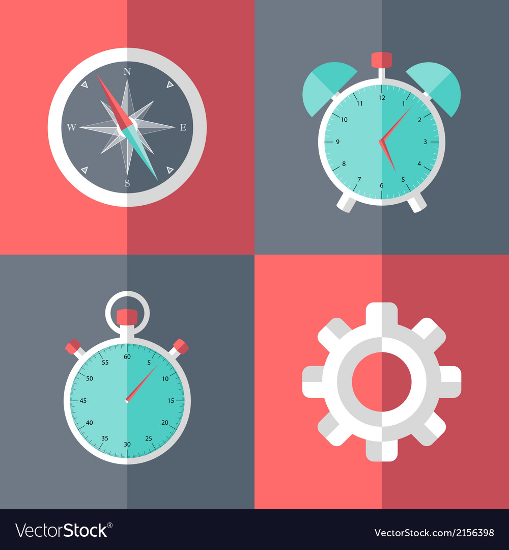 Business flat icons set pink and blue vector | Price: 1 Credit (USD $1)