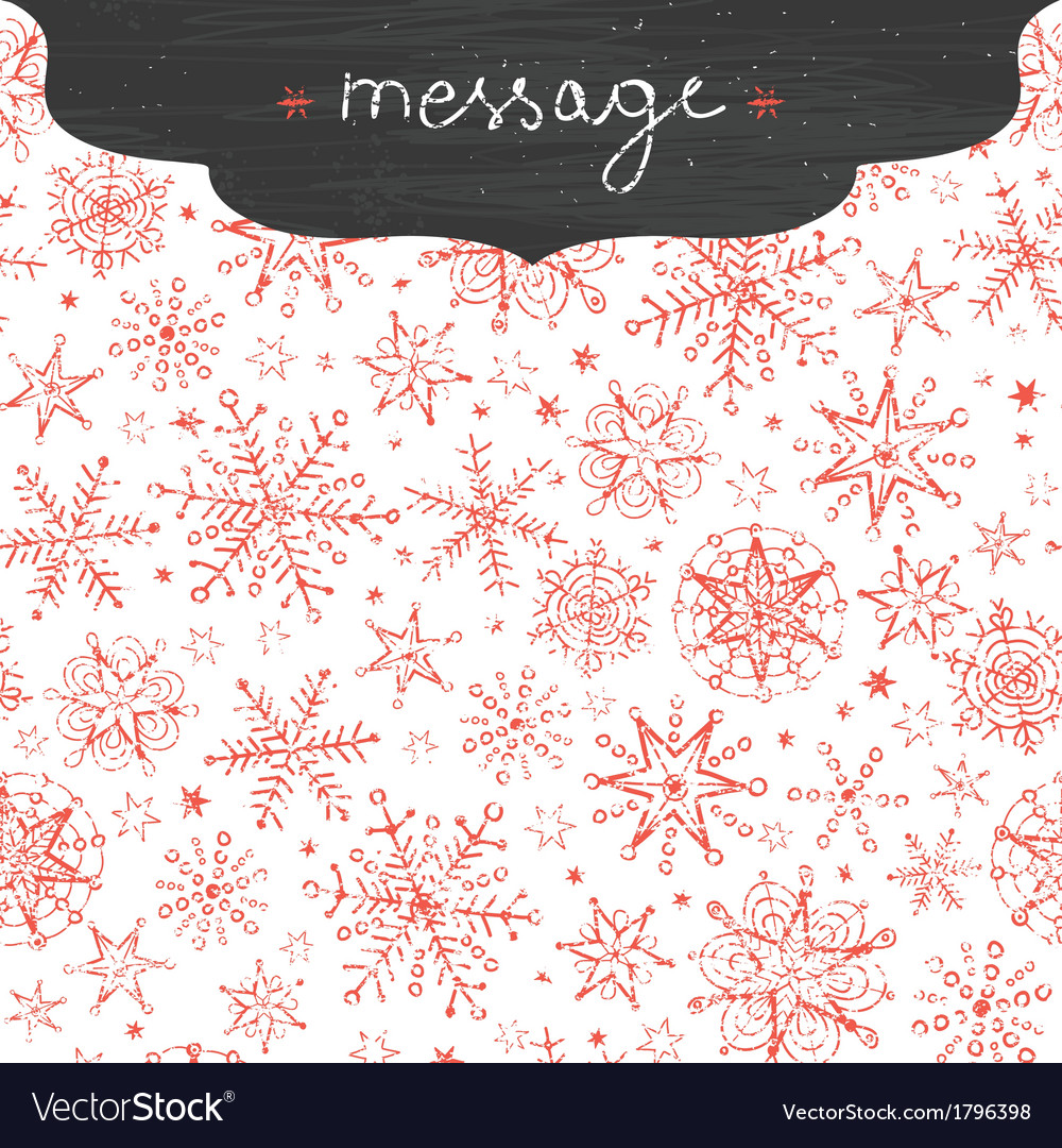 Chalkboard snowflakes frame border seamless vector | Price: 1 Credit (USD $1)
