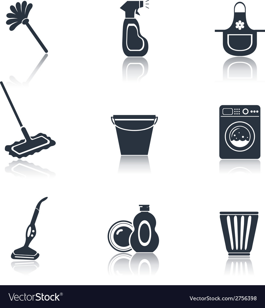Cleaning icon set black vector | Price: 1 Credit (USD $1)