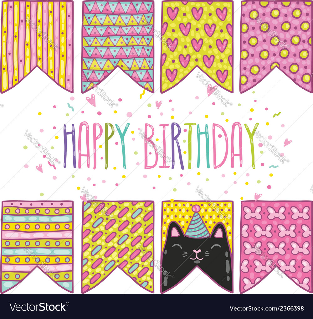 Cute cartoon happy birthday holiday flags with cat vector | Price: 1 Credit (USD $1)