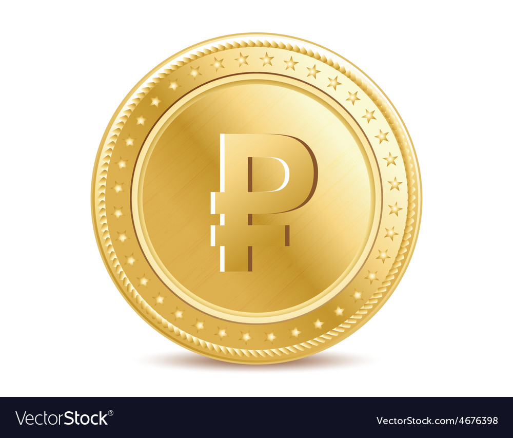 Golden isolated ruble coin on the white background vector   Price: 1 Credit (USD $1)