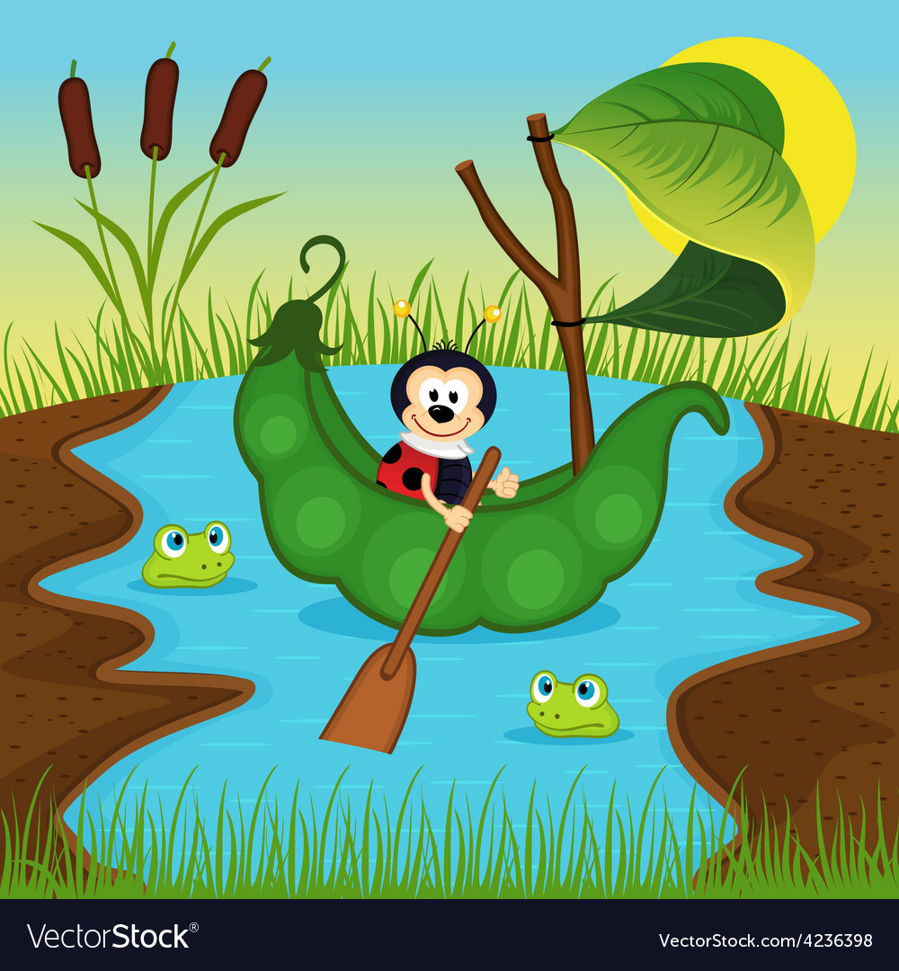 Ladybug floats on peas on river vector | Price: 3 Credit (USD $3)