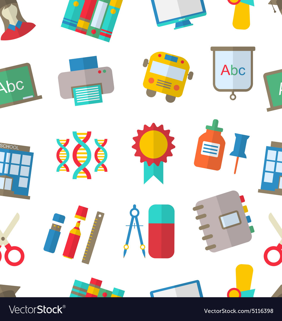 Seamless pattern with school icon vector