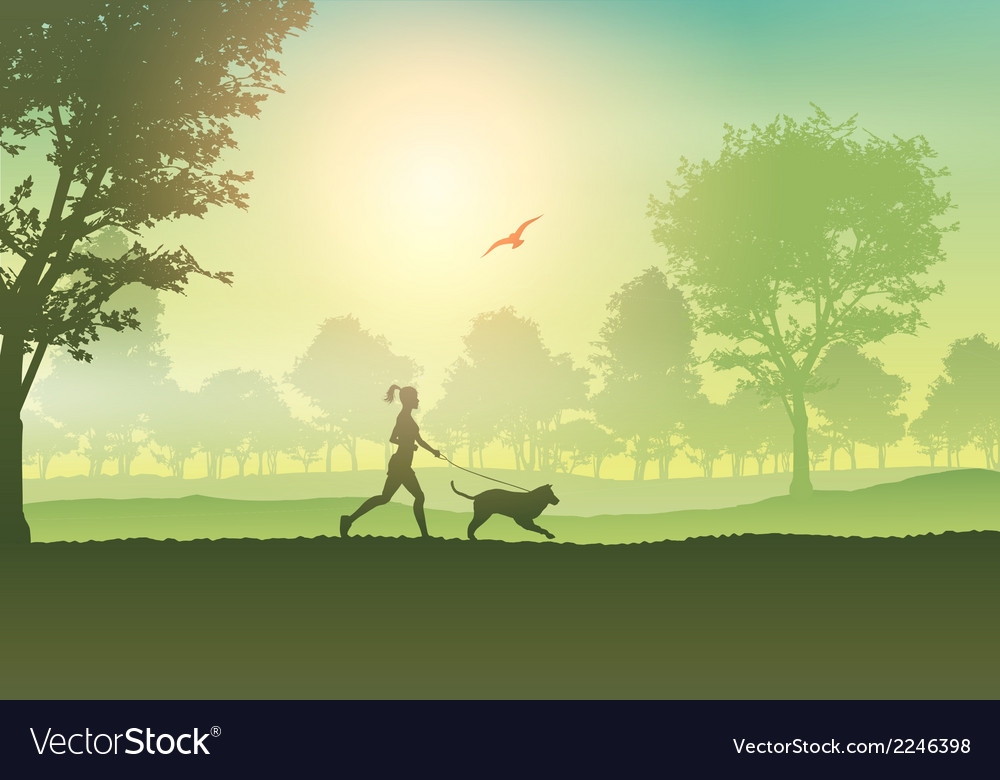Silhouette of a female jogging with her dog in the vector | Price: 1 Credit (USD $1)