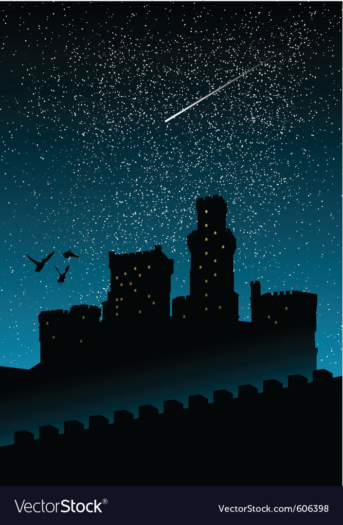 Silhouette of castle under the night sky vector | Price: 1 Credit (USD $1)