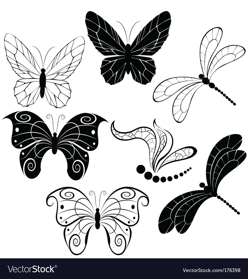 Silhouettes of butterflies and dragonflies vector | Price: 1 Credit (USD $1)