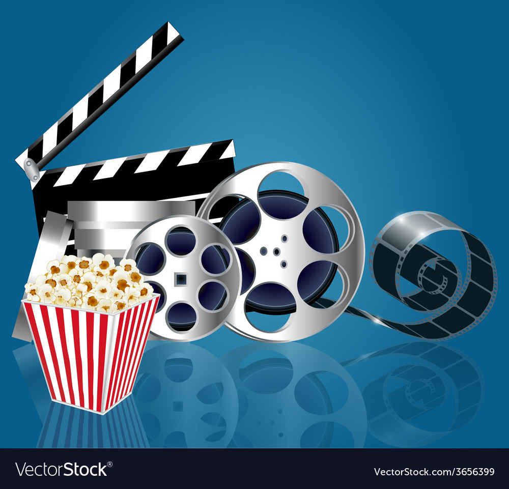 Background with popcorn and film strip vector | Price: 1 Credit (USD $1)