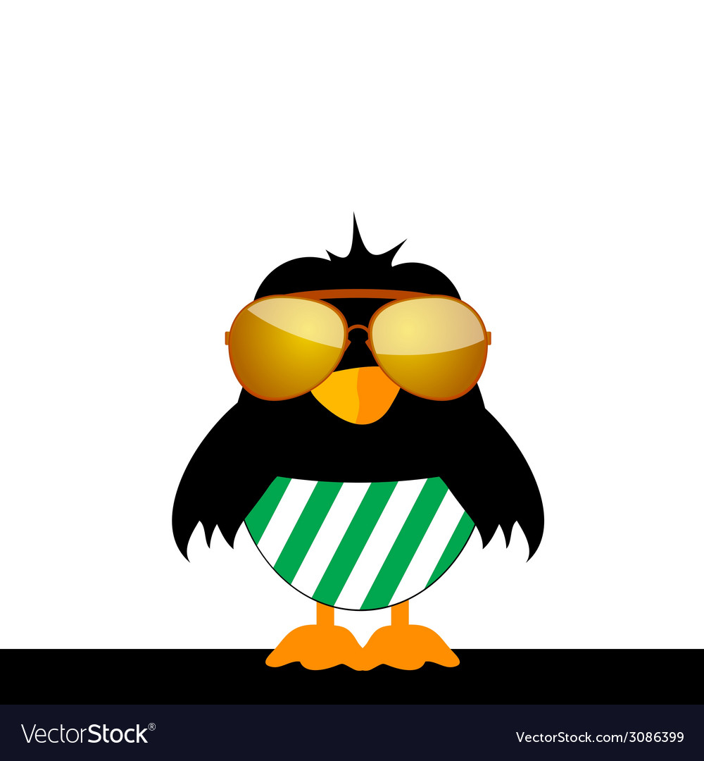 Bird with glasses and green shorts vector | Price: 1 Credit (USD $1)