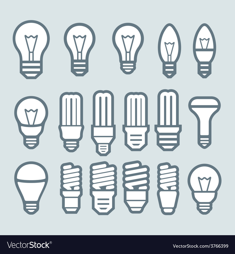 Bulb icon set vector | Price: 1 Credit (USD $1)