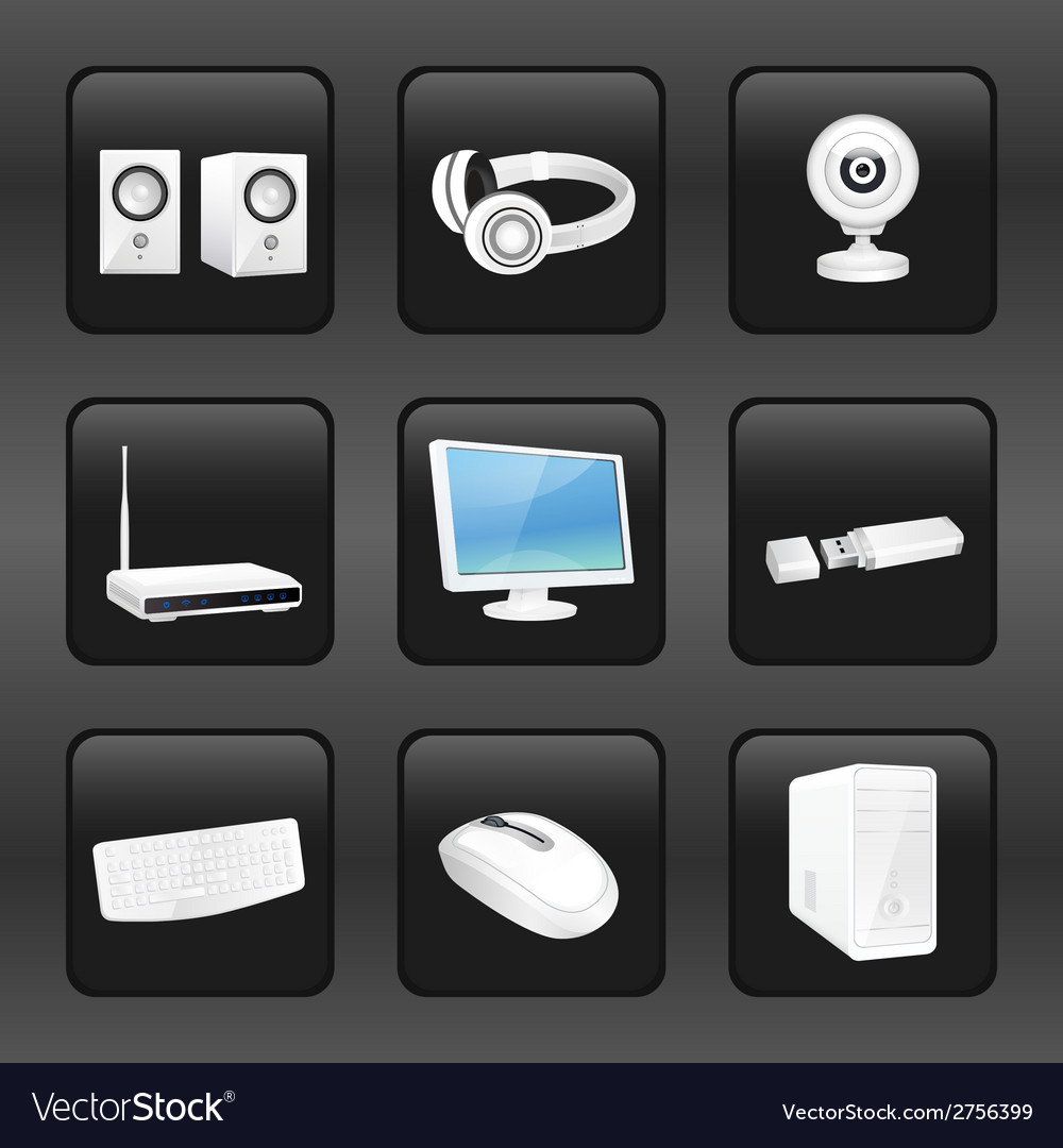 Computer and accessories icons vector | Price: 1 Credit (USD $1)