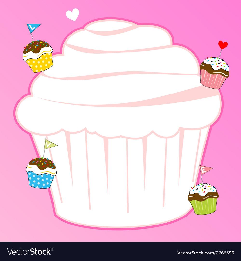 Cupcake for pink memo design element vector | Price: 1 Credit (USD $1)