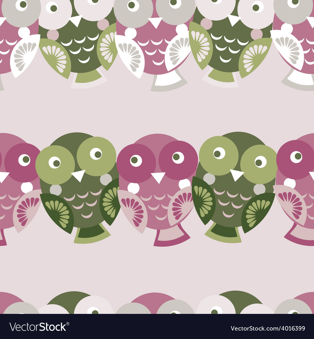 Cute colorful seamless pattern with owl green pink vector | Price: 1 Credit (USD $1)
